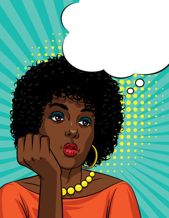 Vector retro illustration pop art comic style of a boring woman's face. Afro American woman with curly hair is thinking Vectores