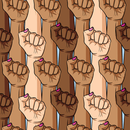 Vector seamless pattern of women's fists different nationalities and skin color.