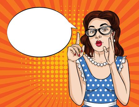 Vector ilustración retro pop art estilo cómic de una mujer bonita en anteojos apuntando el dedo hacia arriba. Cartel vintage de una niña tratando de contar un secreto