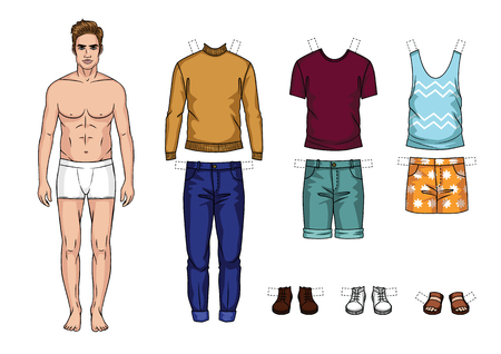 Colorful set of fashionable mens outfits isolated from background. Cartoon style guy paper doll with summer clothes. Ilustração