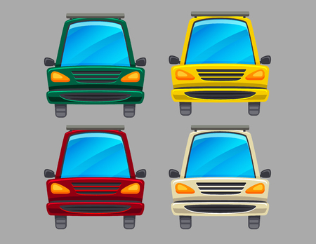 Colorful set of four different colors cars isolated from background. Illustration