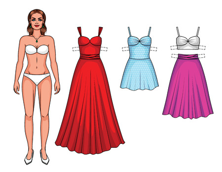 Vector set of beautiful European women with summer party clothes. Paper doll girl with dresses and skirt isolated from white background