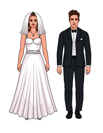 Vector set of beautiful European just married couple. Paper doll girl in wedding dress and guy in wedding suit isolated from white background