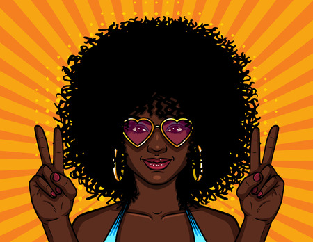 Vector colorful illustration of african american hippie woman in pink sunglasses over halftone yellow background. Girl with curly afro hairstyle at the party