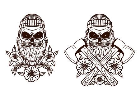 Black and white Tattoo of skull lumberjack