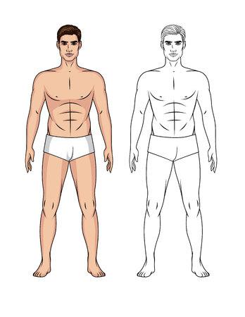 Conjunto de vector de dibujos animados e ilustración de arte de línea de un chico guapo en forma aislado del fondo. Muñeca de papel de un hombre al frente en toda su longitud. Ilustración de vector