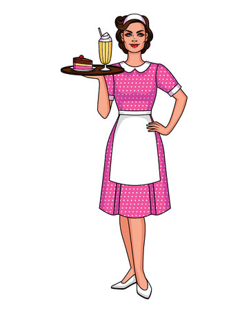Vector cartoon  illustration of a pretty cute waitress with a tray food. Cute Character from 50's of smiling woman in apron with milk shake and dessert