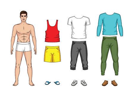 Kleurrijke vectorillustratie van een man papieren pop met kleren voor lente en zomer geïsoleerd van een witte achtergrond. Stijlvolle casual outfit voor heren