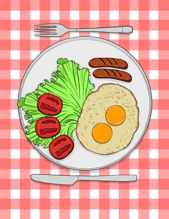 Vector colorful illustration of typical english breakfast. Egg, salad, tomatoes and sausage served on the plate