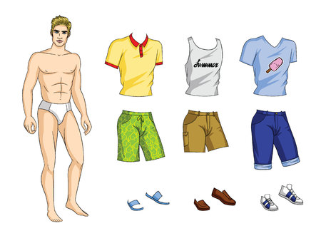 Vector illustration of paper doll man with set of stylish summer clothes and shoes. Handsome guy with trendy outfit
