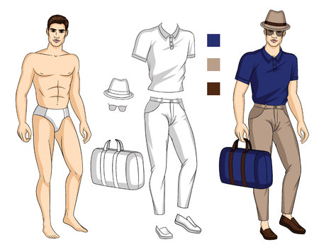 Vector illustration of fit body guy with set of stylish summer clothes. Set for drawing with template of paper doll and colors palette for outfit