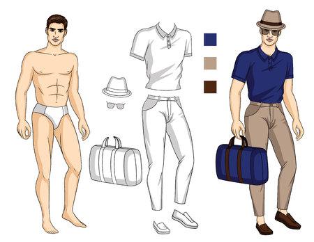 Vectorillustratie van fit lichaam man met set stijlvolle zomerkleding. Instellen voor tekenen met sjabloon van papieren pop en kleurenpalet voor outfit