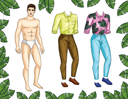 Vector paper doll man with colorful set of stylish summer clothes and shoes. Handsome fit guy with trendy casual tropical pattern outfit for holiday