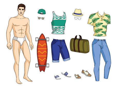 Vector paper doll man with colorful set of stylish summer outfit with accessories and shoes. Handsome fit guy with trendy casual tropical and geometric pattern clothes for holiday