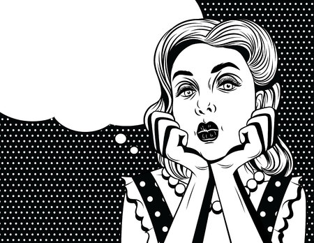Vector comic pop art style illustration of a beautiful young woman is bored. Retro style girl put head on her hands Illustration