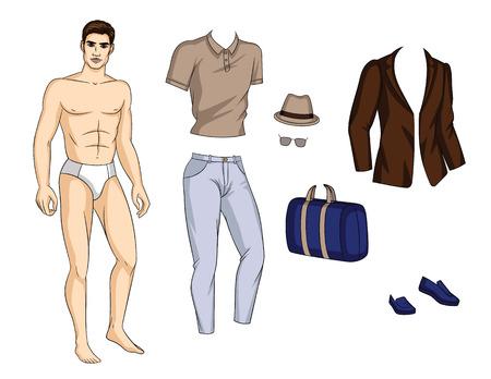 Kleurrijke vectorillustratie van een modieuze jonge man in ondergoed met kleding. Knappe man met schoenen, broek, shirt, jas en accessoires geïsoleerd van een witte achtergrond