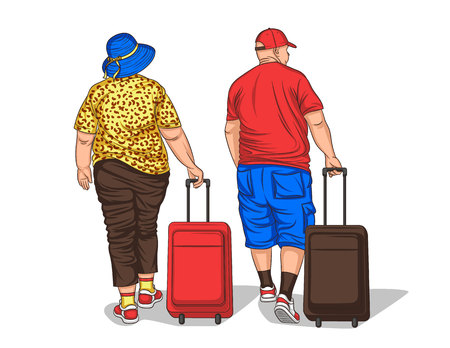 Vector colorful illustration of an adult european couple walking with a luggage. Fat traveller man and woman with suitcase in summer clothes going to holiday