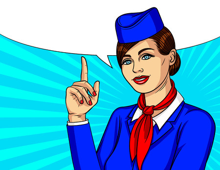 Vector colorful pop art style illustration with smiling stewardess keep finger pointing up. Beautiful woman wearing blue uniform with hat and scarf standing over halftone background Stockfoto - 102805738