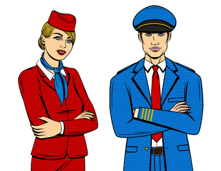 Vector colorful pop art comic style illustration of pilot and stewardess standing with crossed hands isolated from white background. Smiling people wearing uniform with hat and scarf