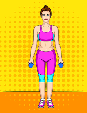 Vector colorful pop art comic style illustration of slender young woman wearing sport clothes and standing over halftone dpt background. Fitness body of beautiful girl with weights in her hands Illustration