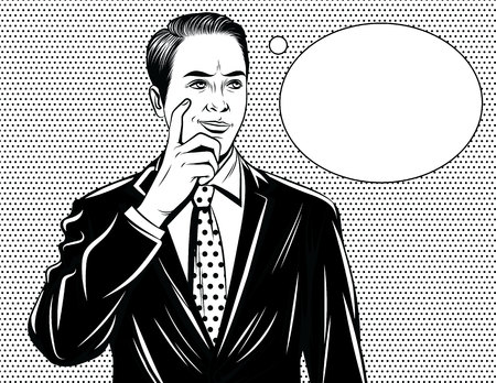 Vector black and white comic style illustration of a manager thinking. Handsome guy standing in office suit with finger near his face and speech bubble
