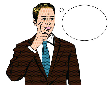 Vector colorful comic style illustration of a business man with worried face. Handsome guy standing in office suit with finger near his face and speech bubble isolated from white background