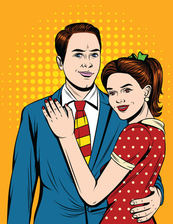 Vector colorful illustration pop art illustration about fall in love beautiful couple. Happy girl in red dress hugging her boyfriend Ilustração