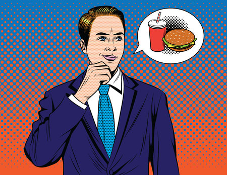 Vector colorful comic pop art style illustration of businessman dreaming about burger. Handsome guy in suit thinking about fast food
