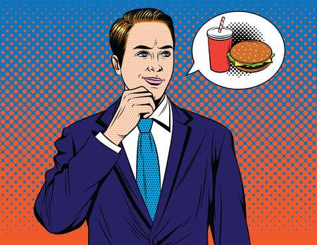 Vector ilustración de estilo de arte pop cómico colorido del empresario soñando con hamburguesa. Chico guapo en traje pensando en comida rápida Ilustración de vector
