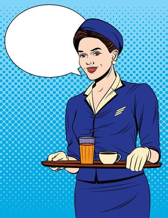 Illustrazione di stile pop art fumetto colorato vettoriale di una bella cameriera con un vassoio di bevande. Cartolina d'epoca con giovane ragazza in uniforme che serve i passeggeri Vettoriali