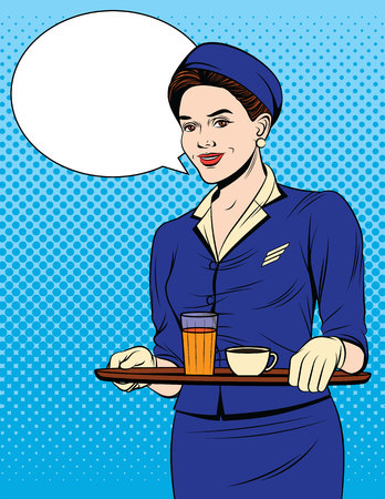 Vector colorful comic pop art style illustration of a beautiful waitress with a tray of drinks. Vintage postcard with young girl in in uniform serving passengers