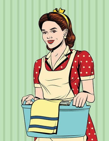 Vector colorful comic pop art style illustration of a beautiful housewife with basket of wet clothes. Vintage postcard with young girl in apron doing housework