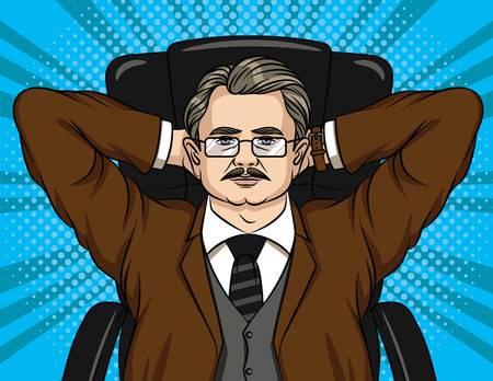 Vector comic style illustration of a boss sitting on a chair in the office. Colorful portrait of a businessman in a lounging Stockfoto - 104728610