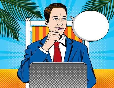 Vector comic pop art style illustration of a businessman sitting on the chair in the beach. Man in suit working at the laptop on holiday Illusztráció