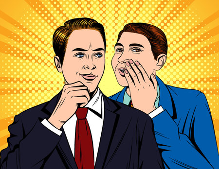 Vector colorful pop art comic style illustration of one guy in suit telling a funny story to colleague. Portrait of two young handsome businessmen who having conversation Banque d'images - 105947643