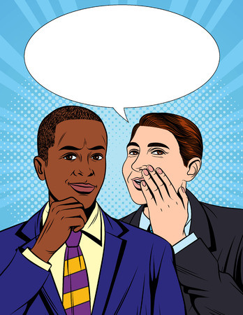 Vector colorful pop art comic style illustration of one businessman telling a secret information to his colleague. Portrait of two young handsome guys in suit who having a dialog Banque d'images - 105947452