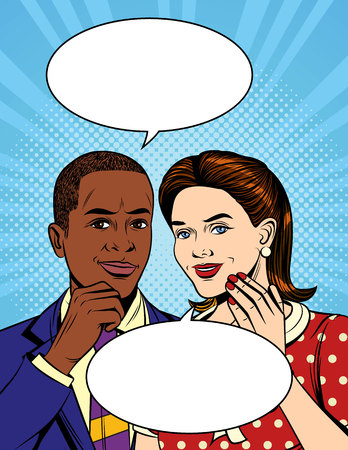 Vector colorful pop art comic style illustration of a two of collegues are speaking. Portrait of a african american man  in suit who having a dialog with european woman Banque d'images - 105947457