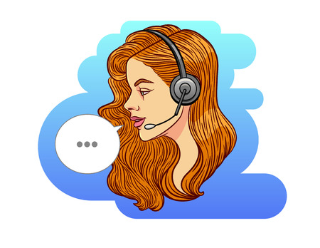 Vector colorful illustration of a beautiful woman working as consultant. Portrait of a girl in profile with a headphone