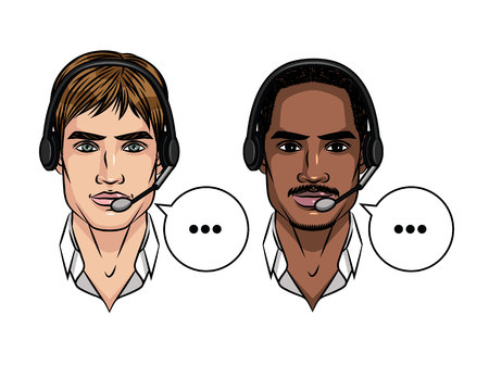 Vector colorful set avatars of men working at contact centre. Portrait of young attractive African American and european guy with headphones