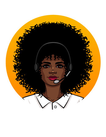 Young attractive woman working like operator in call centre. Portrait of an African American girl with curly hair wearing headphone