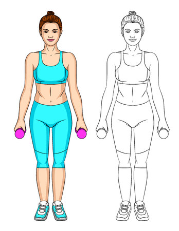Vector set of two cartoon fitness girl characters. Young attractive woman in sportswear standing in front with dumbbells in her arms . Illustration