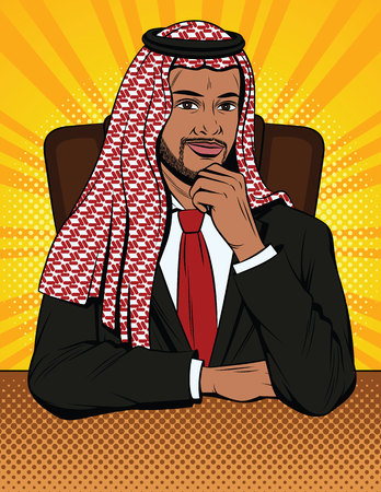Vector colorful comic style illustration of an Arabian man in traditional clothes is sitting in an armchair behind a desk. A muslim businessman thinks at his office Vectores