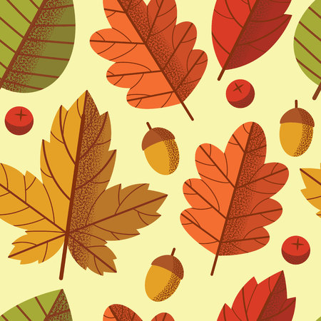 Vector seamless colorful pattern of autumn leaves fall down. Design of a repeat floral tile for printing on fabric, postcards and wallpaper. Natural ornament with tree leaves and berries
