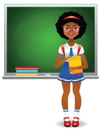 Vector colorful illustration of smart happy african american girl at uniform near school chalkboard isolated from white background. Teen girl standing in front of green school board with books