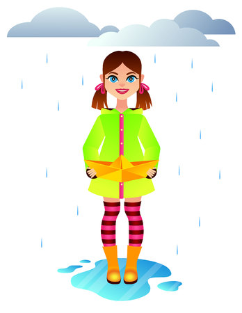 Vector colorful illustration of an autumn weather with cute little girl. Happy child with paper ship standing in a puddle. Fashionable girl wearing raincoat and rubber boots playing under the rain