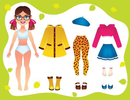 Vector ilustración colorida de ropa de armario de otoño para chica adolescente. Niña linda con traje de temporada de otoño para la escuela. Ropa de moda para niñas, sombrero, zapatos con hermosa muñeca de papel.