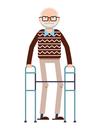 Vector colorful flat style illustration of old man walking with a cane. Retired grandpa walking with supporting. Gray hair slim pensioner in big glasses wearing sweater and pants