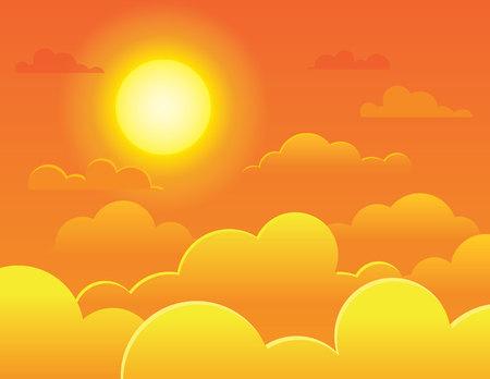 Vector bunte Illustration einer hellen vollen Sonne auf einem Hintergrund eines orange Himmels. Abendhimmel mit Wolken und schönem Sonnenuntergang. Flauschige Wolken am Sonnenaufgangshimmel Vektorgrafik