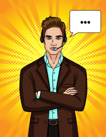 Vector color illustration of a guy in a suit and headphones is leading an online conversation. The employee of the service center helps the client. Pop art style illustration for an advertising flyer