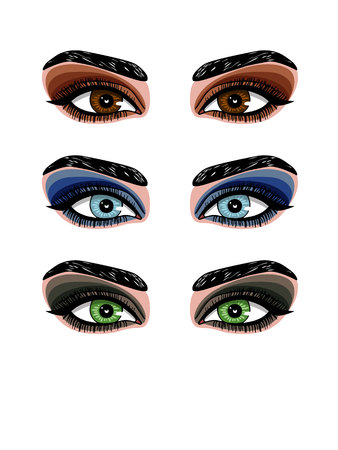 Vector color illustration of woman's eye makeup. Smokey makeup of eyes of different colors. Set of different types of shadows for evening make-up Illusztráció